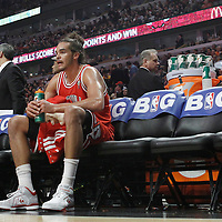 12 March 2012: Chicago Bulls center Joakim Noah (13) is seen on the bench during the Chicago Bulls 104-99 victory over the New York Knicks at the United Center, Chicago, Illinois, USA.