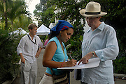 British director Mike Newell (in hat) and Massachusetts native executive producer Scott La Staiti (left) on the set of &quot;Love in the Time of Cholera&quot;, in Cartagena, Colombia.   Newell, who directed Harry Potter Goblet of Fire, Mona Lisa Smile, Donnie Brasco, Four Weddings and a Funeral etc. is filming the first english language adaptation of a novel by nobel laureate Gabriel Garcia Marquez.<br />