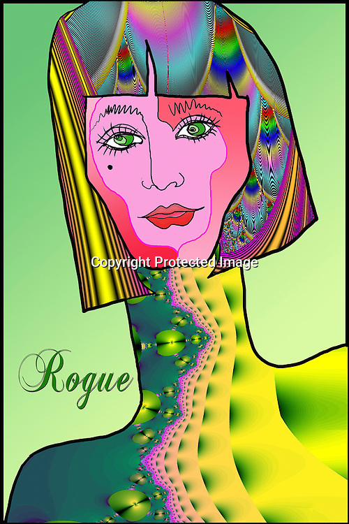 pen and ink fractal woman rogue green rainbow empathic long neck lips green eyes bob whimsical, magical, artwork...Photos and illustration by Charr Crail, 2011, All Rights Reserved.www.charrcrail.com.916-505-1154..Using multiple techniques and imagery including fractal art to create this digital illustration.  .Photos and illustration by Charr Crail, 2011, All Rights Reserved.www.charrcrail.com.916-505-1154..Charr Crail Fractals.Fractal art illustration kaleidascope pattern infinity mathematical..Photo/illustration by Charr Crail, 2011, All Rights Reserved.www.charrcrail.com.916-505-1154..