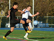 Newark Academy's Nathaniel Charendoff #12 battles for the ball with Moorestown Friend's Andrew Denittis #4 in the first half of the non-public B boys soccer state championship game Sunday November 15, 2015 at Kean University in Union, New Jersey. (Photo by William Thomas Cain)