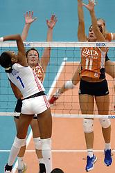 14-10-2006 VOLLEYBAL: DELA TROPHY: NEDERLAND - CUBA: DEN BOSCH<br /> De Nederlandse volleybalsters hebben ook de tweede wedstrijd in de testserie tegen Cuba, met als inzet de Dela Cup, gewonnen. In Den Bosch zegevierde Oranje zaterdagavond opnieuw met 3-2 / Caroline Wensink<br /> ©2006-WWW.FOTOHOOGENDOORN.NL