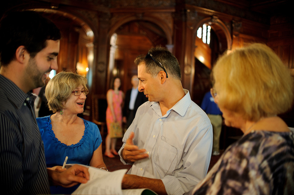(photo by Matt Roth).Assignment ID: 30127886A..New York TImes writer and BSO Academy student Dan Wakin, middle right, talks to BSO Academy co-founder Jane Marvine, middle left, who plays English Horn with the Baltimore Symphony Orchestra, during brunch at the Engineers Club in Baltimore, MD Sunday, June 24, 2012.
