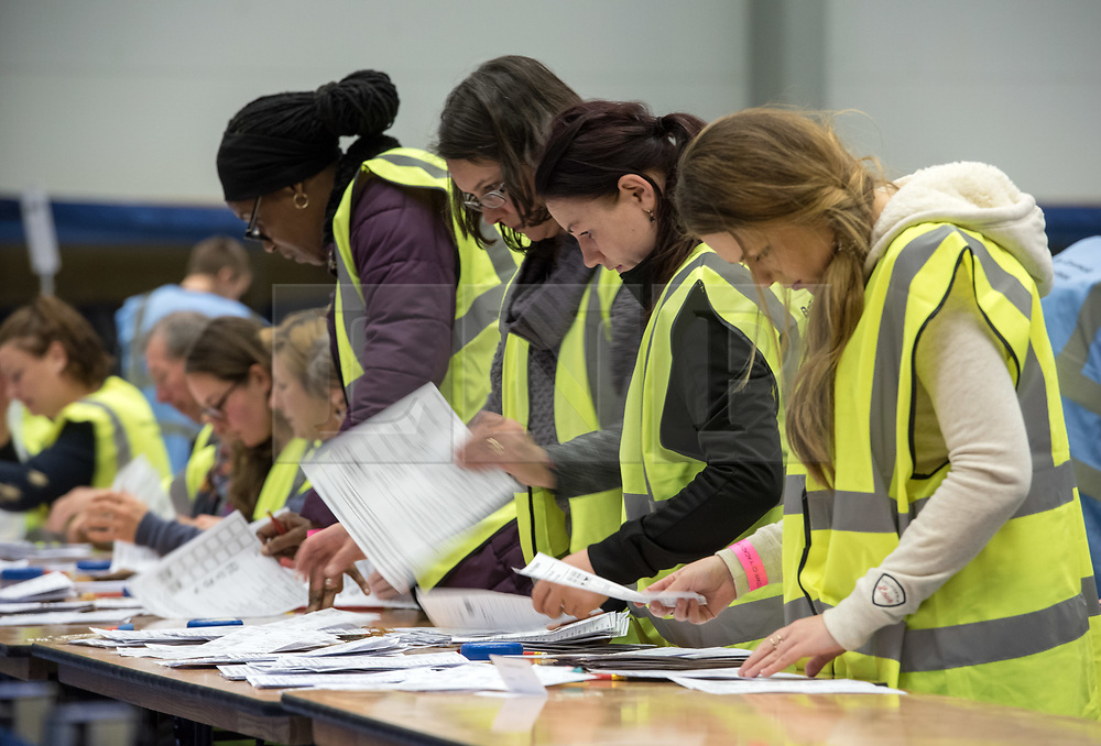 © Licensed to London News Pictures. 05/05/2017. Bristol, UK. Ballots are counted at the Election Count at City Academy Bristol for the West of England Combined Authority Mayoral election 2017. The candidates are: Tim Bowles -Conservative Party; Aaron Warren Foot - UK Independence Party (UKIP); Darren Edward Hall - Green Party; Lesley Ann Mansell - Labour and Co-operative Party; John Christopher Savage - Independent; Stephen Williams - Liberal Democrats. Photo credit : Simon Chapman/LNP