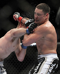 May 29, 2010; Las Vegas, NV; USA;  Diego Sanchez (black trunks) and John Hathaway (white trunks) fight during their bout at UFC 114 at the MGM Grand Garden Arena in Las Vegas.