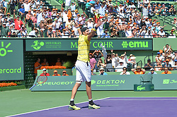 April 1, 2018 - Miami, FL, United States - Miami, FL - APRIL 1: John Isner (USA) celebrates after defeating Alexander Zverev (GER) 67(4) 64 64 2018 Miami Open held at the Tennis Center at Crandon Park on April 1, 2018.   Credit: Andrew Patron/Zuma Wire (Credit Image: © Andrew Patron via ZUMA Wire)