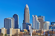 View of the Charlotte, North Carolina skyline with the Bank of America Corporate Center in the top-center of the image