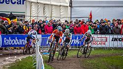 Thijs VAN AMERONGEN (28,NED), Marcel WILDHABER (12,SUI) & Julien TARAMARCAZ (10,SUI), 6th lap at Men UCI CX World Championships - Hoogerheide, The Netherlands - 2nd February 2014 - Photo by Pim Nijland / Peloton Photos