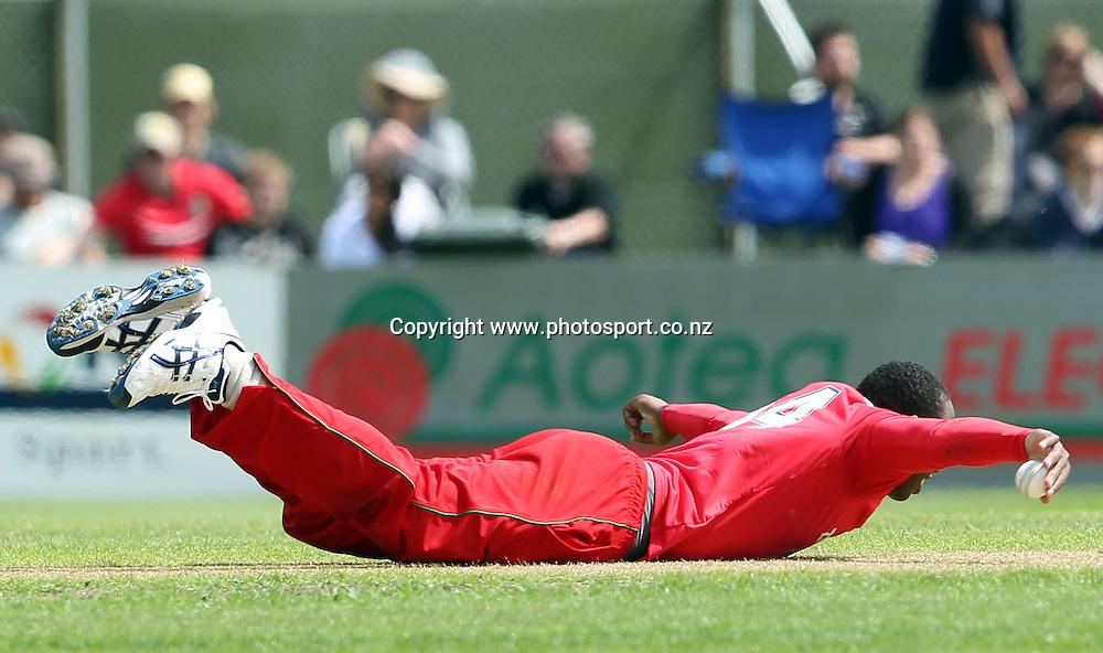 Shingi Masakadsa celebrates the wicket of Kane Williamson - Caught &amp; Bowled. <br /> New Zealand v Zimbabwe, 1st ODI, 3 February 2012, University Oval, Dunedin, New Zealand.<br /> Photo: Rob Jefferies/PHOTOSPORT