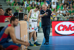 Goran Dragic of Slovenia and Bozidar Maljkovic, head coach of Slovenia, during friendly match between National teams of Slovenia and France for Eurobasket 2013 on August 31, 2013 in Arena Stozice, Ljubljana, Slovenia. (Photo by Matic Klansek Velej / Sportida.com)