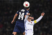 YOKOHAMA, JAPAN - DECEMBER 08:  Clayton Lewis of Auckland City heads the ball over Ryota Nagaki of Kashima Antlers during the FIFA Club World Cup Play-off for Quarter Final match between Kashima Antlers and Auckland City at International Stadium Yokohama on December 8, 2016 in Yokohama, Japan.  (Photo by Matt Roberts/Getty Images)