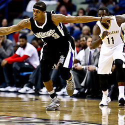 Mar 7, 2016; New Orleans, LA, USA; Sacramento Kings forward Rudy Gay (8) steals a pass against the New Orleans Pelicans during the first quarter of a game at the Smoothie King Center. Mandatory Credit: Derick E. Hingle-USA TODAY Sports