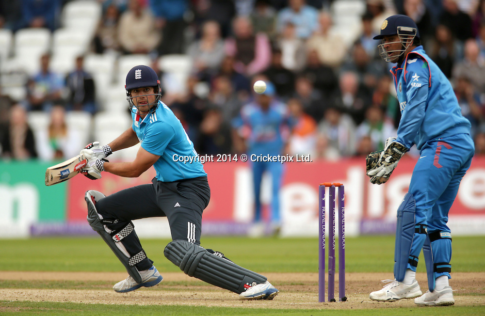 Alastair Cook bats during the third Royal London One Day International between England and India at Trent Bridge, Nottingham. Photo: Graham Morris/www.cricketpix.com (Tel: +44 (0)20 8969 4192; Email: graham@cricketpix.com) 300814