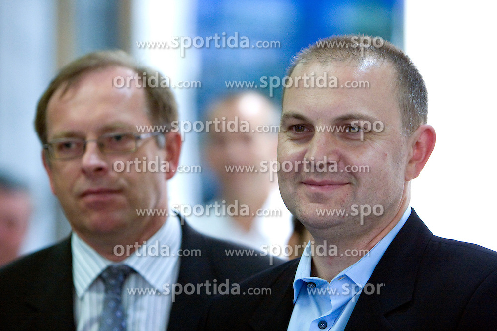 Igor Dolenc and Dusan Mitic of Union Olimpija at the beginning of new season of Basketball NLB League 2008/2009, on September 17, 2008, in NLB in Ljubljana. (Photo by Vid Ponikvar / Sportal Images)