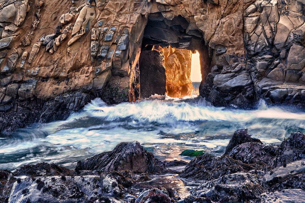 Golden Door Crashing Wave - Pfeiffer State Beach - Big Sur, CA - HDR
