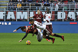 November 26, 2017 - Milan, Italy - Giacomo Bonaventura of AC Milan competes for the ball with Tomas Ricon of Torino FC  during Italian serie A match AC Milan vs Torino FC at San Siro Stadium  (Credit Image: © Gaetano Piazzolla/Pacific Press via ZUMA Wire)