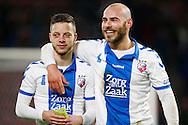 04-02-2016 VOETBAL:PSV-UTRECHT:BEKER:EINDHOVEN<br /> Ruud Boymans (R) felicitieert Bart Ramselaar (L) met de uitschakeling van PSV<br /> <br /> Foto: Geert van Erven