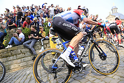 The peloton including Bob Jungels (LUX) Deceuninck-Quick Step on the Muur Kapelmuur Geraardsbergen during the 2019 Ronde Van Vlaanderen 270km from Antwerp to Oudenaarde, Belgium. 7th April 2019.<br /> Picture: Eoin Clarke | Cyclefile<br /> <br /> All photos usage must carry mandatory copyright credit (© Cyclefile | Eoin Clarke)