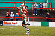 Keighley Cougars winger Andy Gabriel (2) scores a try  and celebrates during the Betfred League 1 match between Keighley Cougars and Workington Town at Cougar Park, Keighley, United Kingdom on 18 February 2018. Picture by Simon Davies.