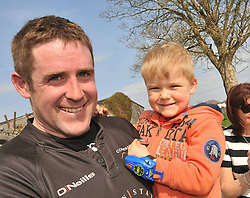 Connemara's Martin Faherty celebrates the Cawley Cup win with his 5 year old son Thomas at Galwegians RFC on sunday last.<br /> Pic Conor McKeown