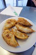 Vienna, Austria. Rochusmarkt. Mandu & Co. Deep fried Mandus with meat.