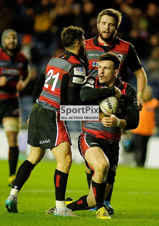 27/11/2015, Murrayfield, Scotland, Matt Scott celebrate's scoring with Sean Kennedy (21) and Alex Toolis during the Edinburgh Rugby v Dragons Guinness PRO12 game, ......(c) COLIN LUNN | SportPix.org.uk