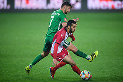 Rok Kronaveter, Elvir Maloku during football match between NK Olimpija Ljubljana and NK Aluminij in semi final of Slovenian Cup 2018/19, on April 23, 2019 in Stozice Stadium, Ljubljana, Slovenia. Photo by Morgan Kristan