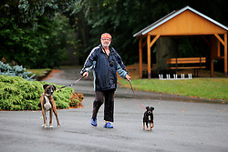 CZECH REPUBLIC VYSOCINA NEDVEZI 20AUG15 - <br /> <br /> Author, poet and painter Honza Volf with his dog Fanda near the village of Nedvezi, Vysocina, Czech Republic.<br /> <br /> jre/Photo by Jiri Rezac<br /> <br /> <br /> <br /> © Jiri Rezac 2015