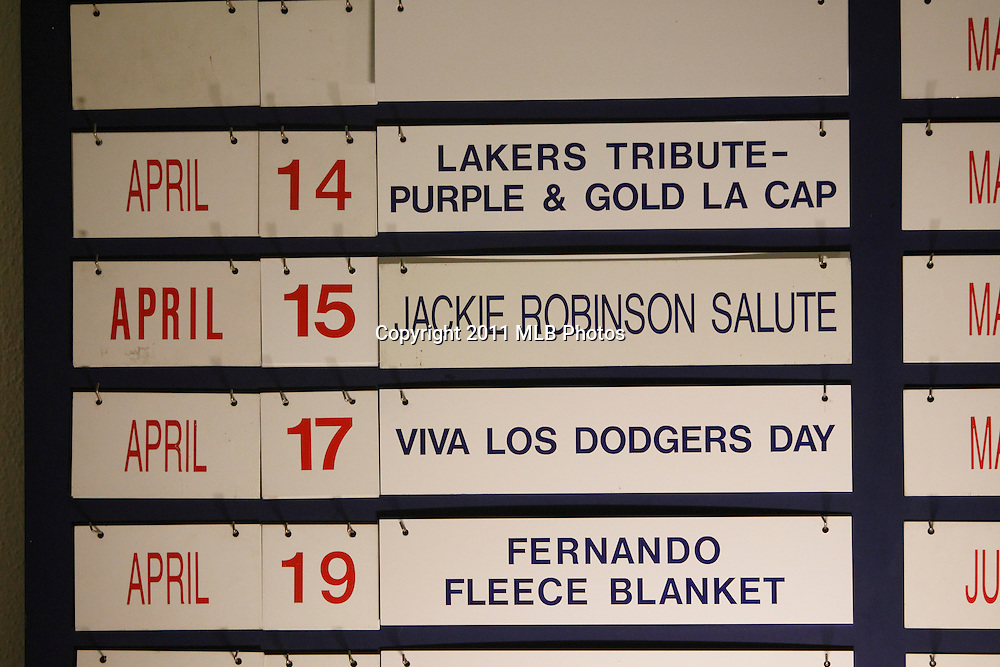 LOS ANGELES, CA - APRIL 15:  A special Jackie Robinson Day salute is featured on an escalator calendar prior to the game between the St. Louis Cardinals and the Los Angeles Dodgers on Friday April 15, 2011 at Dodger Stadium in Los Angeles, California. (Photo by Paul Spinelli/MLB Photos via Getty Images)