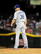 Aug. 6 2011; Phoenix, AZ, USA; Los Angeles Dodgers pitcher Blake Hawksworth (36) stands on the pitching mound while playing against the Arizona Diamondbacks at Chase Field. The Dodgers defeated the Diamondbacks 5-3.  Mandatory Credit: Jennifer Stewart-US PRESSWIRE..
