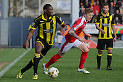 Burton Albion forward Lucas Akins on nthe attack during the Sky Bet League 1 match between Burton Albion and Barnsley at the Pirelli Stadium, Burton upon Trent, England on 16 April 2016. Photo by Aaron  Lupton.