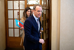 © Licensed to London News Pictures. 14/01/2019. London, UK. Former Secretary of State for Exiting the European Dominic Raab leaves after making a speech on the UK after Brexit, to the Centre for Policy Studies at Church House, Westminster. Tomorrow, MPs are due to vote on British Prime Minister Theresa May's EU withdrawal deal, after the previous vote in December was postponed. Photo credit : Tom Nicholson/LNP