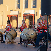 The BK Taiko Drumming group gives a performance Saturday evening at the McKinley County Courthouse Square during Arts Crawl.