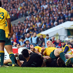 LONDON, ENGLAND - OCTOBER 31: Stephen Moore (capt) of Australia during the Rugby World Cup Final match between New Zealand vs Australia Final, Twickenham, London on October 31, 2015 in London, England. (Photo by Steve Haag)