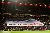 Football - 2019 / 2020 UEFA Europa League - Group L: Manchester United vs. FK Patrizan Belgrade<br /> <br /> Manchester United fans hold a banner at the Stratford End honouring the players who died in the Munich air crash, at Old Trafford<br /> <br /> COLORSPORT/PAUL GREENWOOD