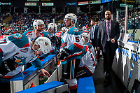 KELOWNA, CANADA - APRIL 26: Kelowna Rockets' assistant coach Kris Mallette walks onto the bench at the start of the second period against the Seattle Thunderbirds on April 26, 2017 at Prospera Place in Kelowna, British Columbia, Canada.  (Photo by Marissa Baecker/Shoot the Breeze)  *** Local Caption ***