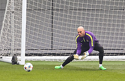 Manchester City's Willy Caballero is pictured during the training session at the Etihad Campus ahead of the UEFA Champions League second leg match against FC Barcelona - Photo mandatory by-line: Matt McNulty/JMP - Mobile: 07966 386802 - 17/03/2015 - SPORT - Football - Manchester - Etihad Campus - Barcelona v Manchester City - UEFA Champions League