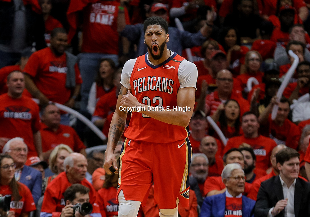 Apr 19, 2018; New Orleans, LA, USA; New Orleans Pelicans forward Anthony Davis (23) reacts during the second quarter in game three of the first round of the 2018 NBA Playoffs against the Portland Trail Blazers at the Smoothie King Center. Mandatory Credit: Derick E. Hingle-USA TODAY Sports