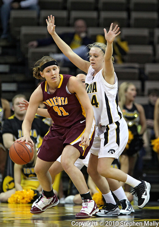 February 18, 2010: Minnesota forward Brianna Mastey (41) works against Iowa guard Jaime Printy (24) during the second half of the NCAA women's basketball game at Carver-Hawkeye Arena in Iowa City, Iowa on February 18, 2010. Iowa defeated Minnesota 75-54.