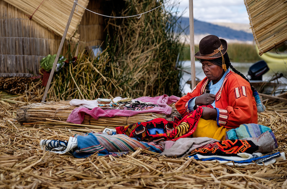 UROS ISLANDS, PERU - CIRCA October 2015: Woman from the Uros Islands in Lake Titicaca.