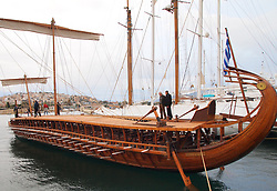 September 9, 2047 - Piraeus, Greece - The Trireme Olympias At Marina Zeas, Piraeus, Greece, on 4 May 2019. Initially, the trireme was used as part of an experimental archeological project, in order for scientists to determine the sailing characteristics, battle tactics and living conditions inside the vessel  (Credit Image: © Grigoris Siamidis/NurPhoto via ZUMA Press)