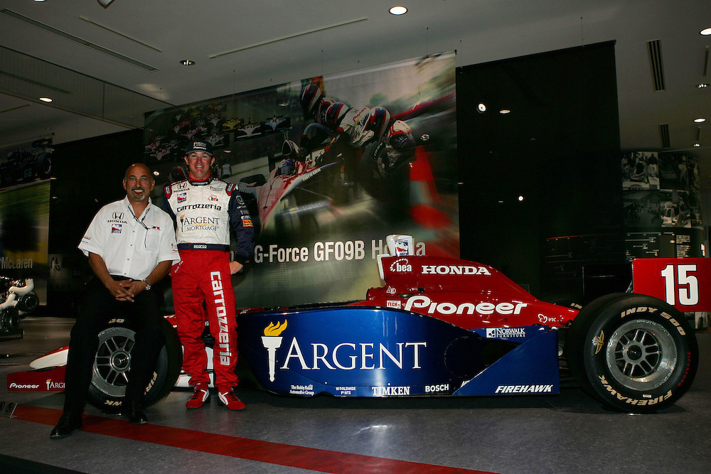 Bobby Rahal and Buddy Rice with their Indy 500 winning car at Twin Ring Motegi, Japan Indy 300, April 30, 2005