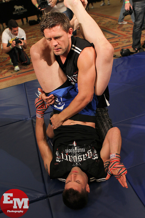 May 26, 2011; Brian Stann works out for the media in preparation for UFC 130 at the MGM Grand in Las Vegas, NV.