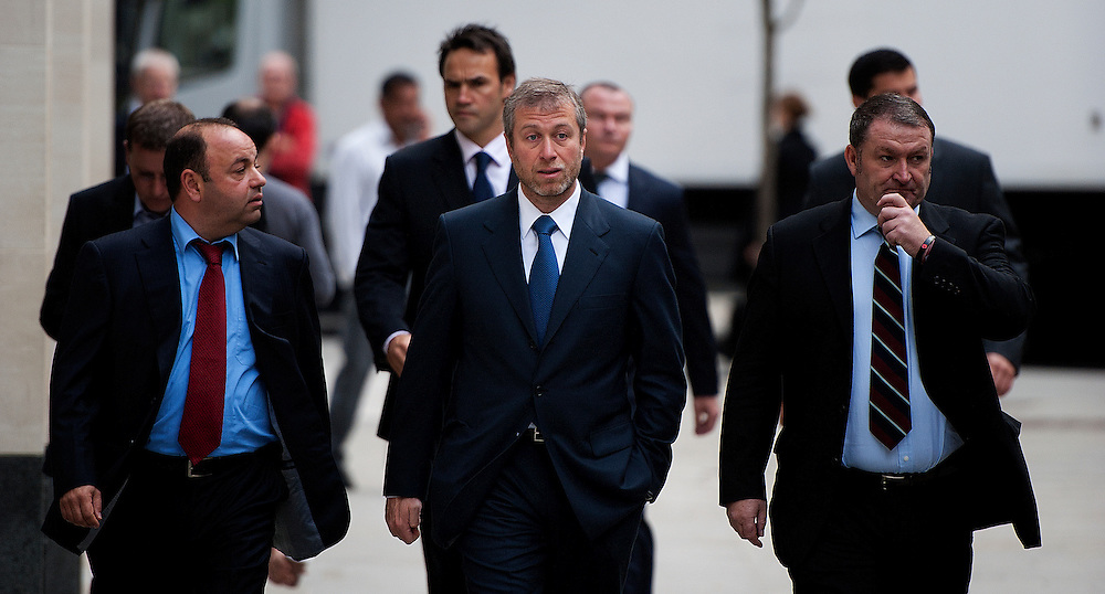 Chelsea Football Club Russian owner Roman Abramovich arrives at the Court of Appeal in Central London, on October 4, 2011. Chelsea Football Club owner Roman Abramovich was accused in a British court Monday of intimidating fellow Russian tycoon Boris Berezovsky into selling him oil company shares at a large discount. Berezovsky, who lives in exile in Britain, accuses Abramovich of breach of trust and breach of contract over the sale of shares in Russian oil company Sibneft, his lawyer told London's High Court at the opening of a trial. The trial continues today....