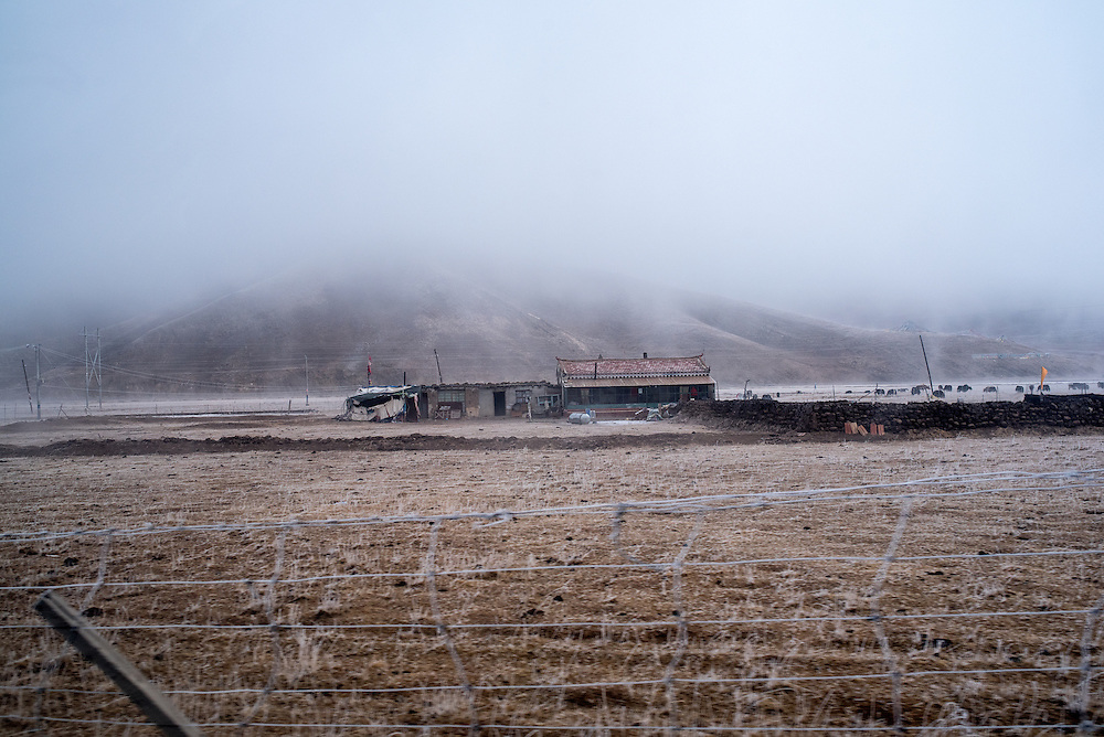 A farmhouse coated in frost in Amdo region, Tibet (Qinghai, China).