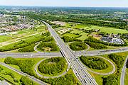 Nederland, Gelderland, Amersfoort, 13-05-2019; Knooppunt Hoevelaken, verkeersknooppunt (klaverblad), aansluiting van de autosnelwegen A1 (links-rechts) en A28. Links boven het midden Vathorst.<br /> Hoevelaken junction, near Amersfoort<br /> <br /> <br /> aerial photo (additional fee required); luchtfoto (toeslag op standard tarieven); copyright foto/photo Siebe Swart