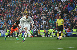 April 29, 2017 - Madrid, Spain - MADRID, SPAIN. APRIL 29th, 2017 - Cristiano Ronald penalty kick. La Liga Santander matchday 35 game. Real Madrid defeated 2-1 Valencia with goals scored by Cristiano Ronaldo (26th minute) and Marcelo (86th minute). Parejo (82nd minute) scored for Valencia. Santiago Bernabeu Stadium. Photo by Antonio Pozo | PHOTO MEDIA EXPRESS (Credit Image: © Antonio Pozo/VW Pics via ZUMA Wire/ZUMAPRESS.com)