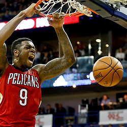 Dec 21, 2016; New Orleans, LA, USA;  New Orleans Pelicans forward Terrence Jones (9) dunks against the Oklahoma City Thunder during the second half of a game at the Smoothie King Center. The Thunder defeated the Pelicans 121-110. Mandatory Credit: Derick E. Hingle-USA TODAY Sports
