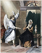 Angel named Secret bringing a letter from the Merciful One to Christiana, inviting her and her children to join Christian in his, God's presence. Illustration for John Bunyan 'The Pilgrim's Progress'. Coloured lithograph c1850.