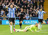 Ross Wallace (L) of Sheffield Wednesday holds his head after his shot is saved during the Sky Bet Championship Playoff Semi Final First Leg at Hillsborough, Sheffield<br /> Picture by Richard Land/Focus Images Ltd +44 7713 507003<br /> 13/05/2016