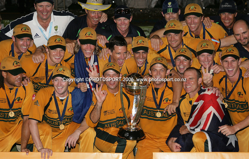 The Australian team celebrate during the presentation at the conclusion of the 2007 ICC Cricket World Cup Final between Australia and Sri Lanka at Kensington Oval, Barbados, West Indies on Saturday 28 April 2007. Australia won the toss and elected to bat first and won the match by 53 runs. Photo: Andrew Cornaga/PHOTOSPORT<br />